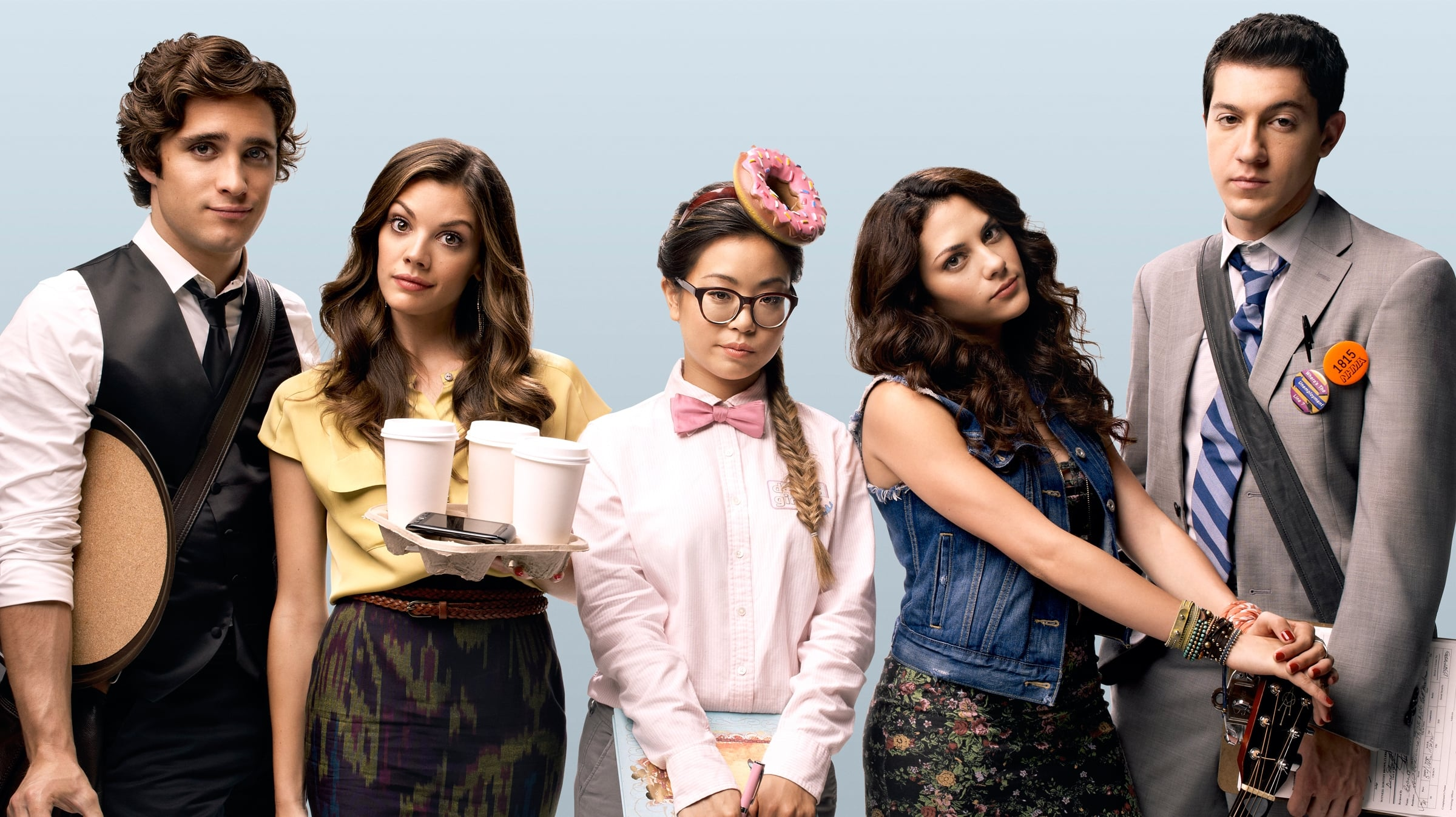 "From Emmy-nominated producer Craig Wright (""Dirty Sexy Money,"" ""Six Feet Under""), MTV's new scripted comedic drama ""Underemployed"" follows a group a five friends--Sophia, Daphne, Lou, Raviva and Miles--all filled with lofty goals, romantic dreams and hopefulness for complete world domination on their road to adulthood. But what happens when things don't go exactly according to plan? ""Underemployed"" picks up one year after their college graduation when reality has set in and the group struggles, often comically, to stay optimistic through the major life changes young twentysomethings know all too well, including dead-end jobs, terrible bosses and romantic mistakes. This group of old friends becomes a new family as they go through all the highs and lows in their newfound adult lives and prove together that if life is about living, none of them are underemployed. The series, which is currently in production in Chicago, will feature 12 hour-long episodes and is slated to launch in fall 2012. Sophia struggles to hold on to her dreams of becoming a writer, as she serves maple bacon bars at Donut Girl, while Daphne continues to toil as an unpaid and unnoticed intern at an advertising agency. Lou and Raviva ended their relationship when she left for Los Angeles to become a famous singer, leaving Lou on his quest to save the environment, but all that changes when she shows up on his doorstep nine-months pregnant. Meanwhile, Miles aspires to be a world famous model, the face of a major ad campaign, but instead finds himself serving mojitos and mini-tacos in his skivvies."