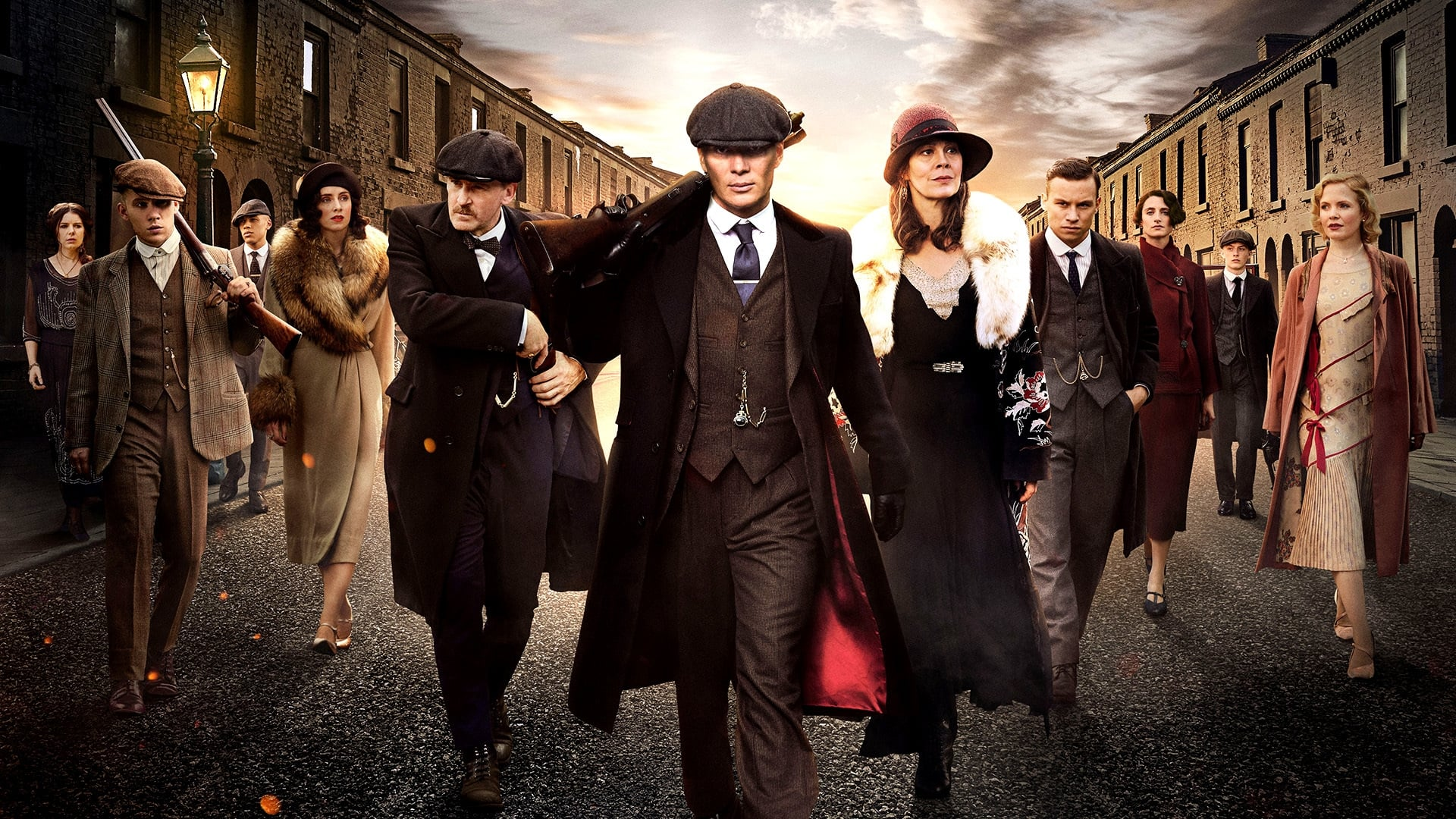 A gangster family epic set in 1919 Birmingham, England and centered on a gang who sew razor blades in the peaks of their caps, and their fierce boss Tommy Shelby, who means to move up in the world.