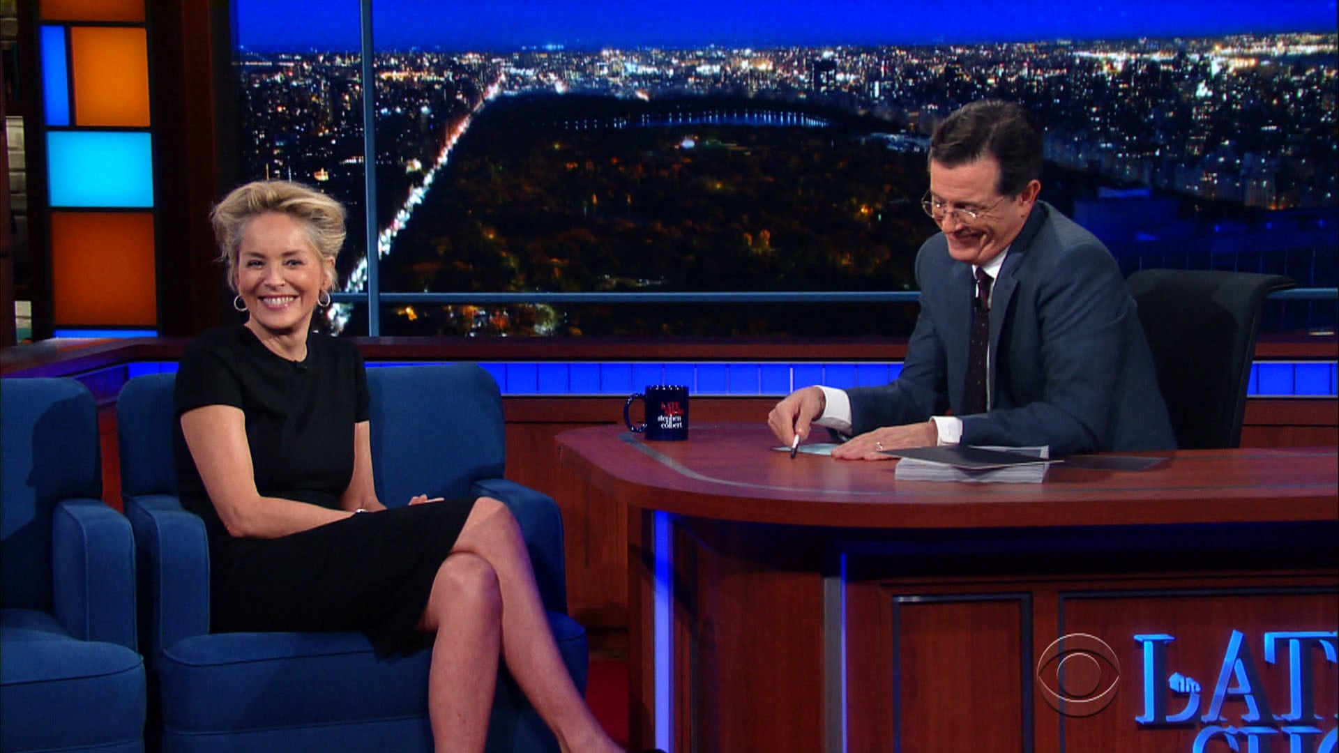 The Late Show with Stephen Colbert Season 1 :Episode 47  Sharon Stone, Justin Theroux, James Taylor