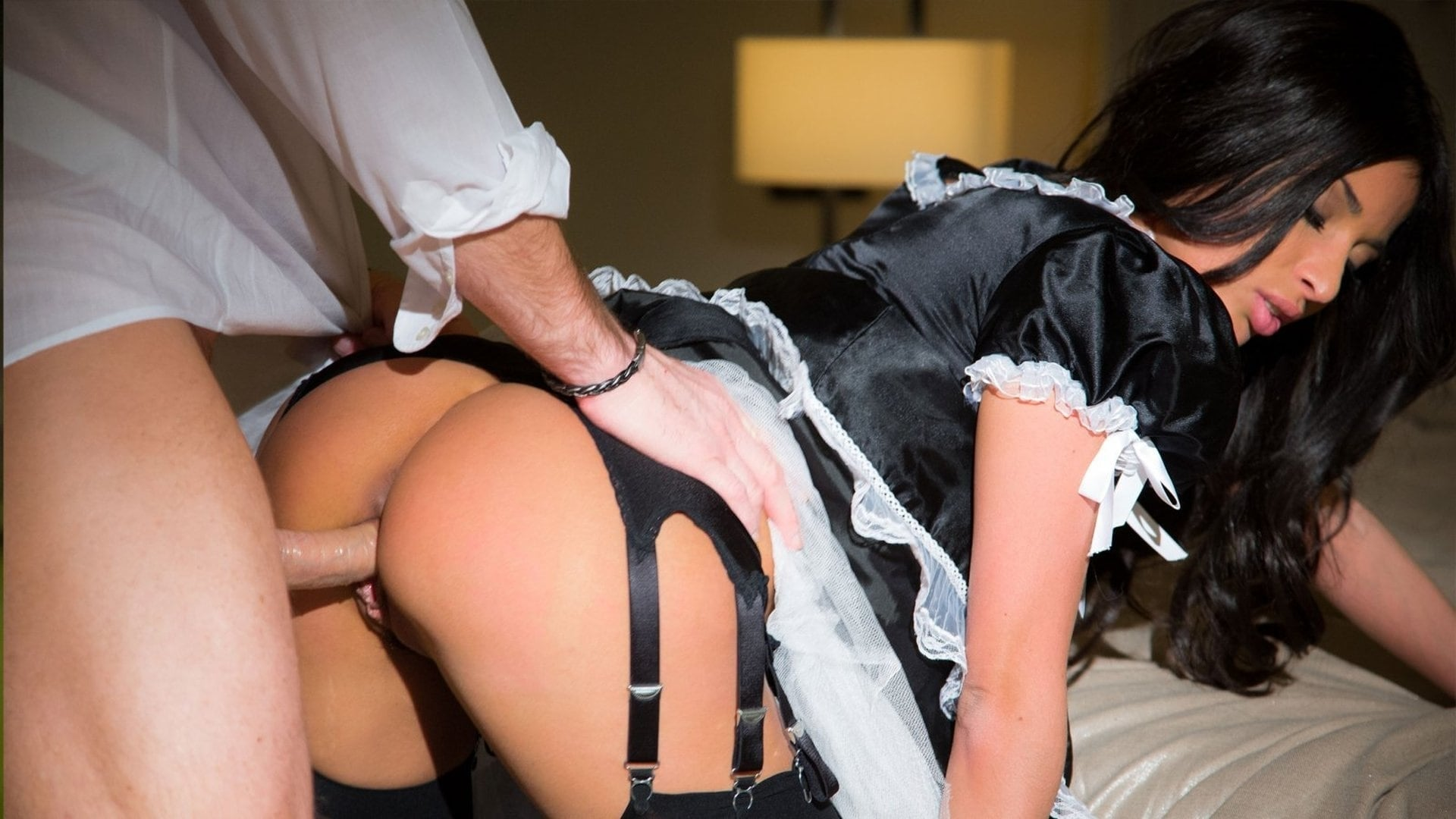 Cate harrington in a sexy french maid uniform and fishnet stockings