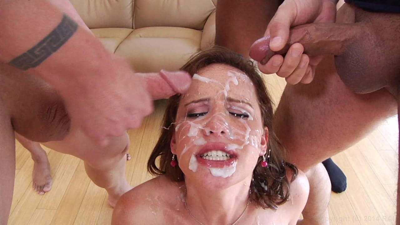 Blow multiple guys and get facials, trailer trash gangbang