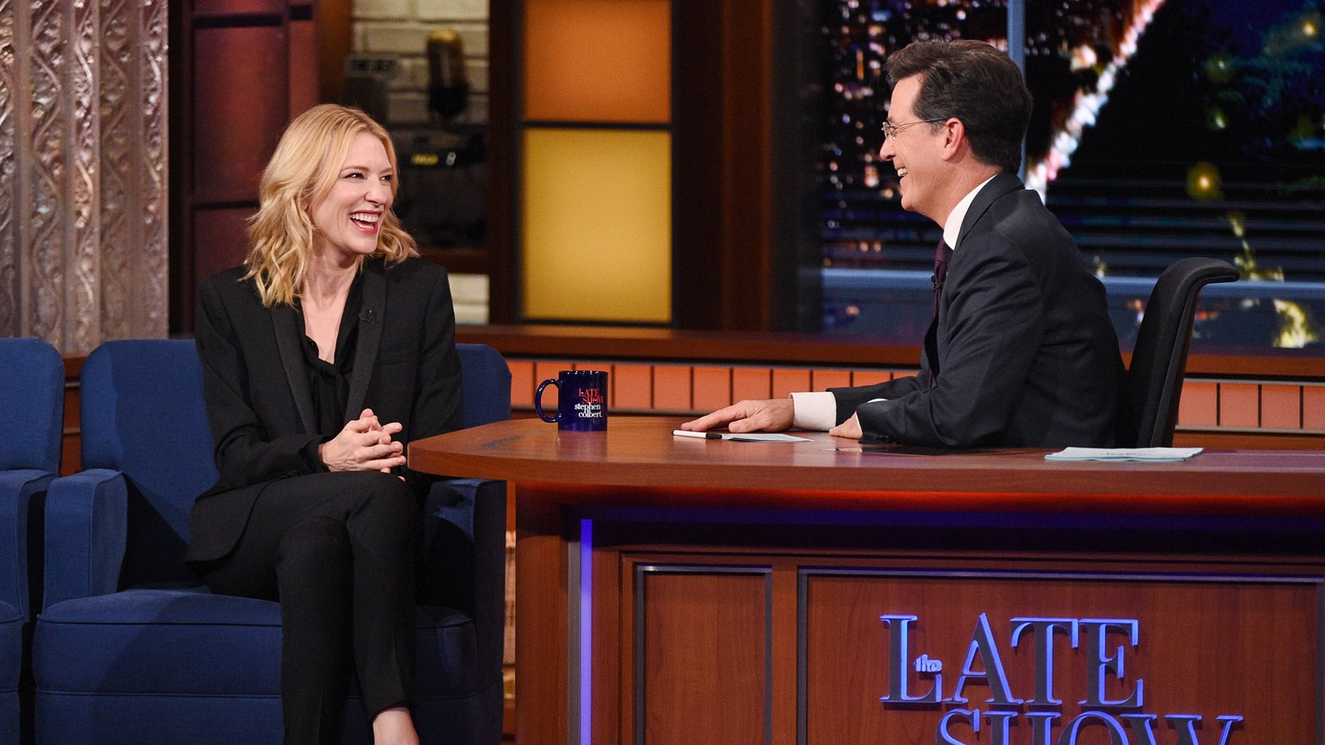 The Late Show with Stephen Colbert Season 1 :Episode 23  Cate Blanchett, Brian Chesky, Dartmouth Football Dummy