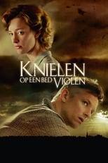 Poster van Knielen op een bed violen