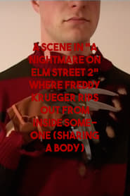 "A scene in ""A Nightmare on Elm Street 2"" where Freddy Krueger rips out from inside someone (sharing a body)"