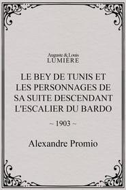 Le Bey de Tunis et les personnages de sa suite descendant l'escalier du Bardo