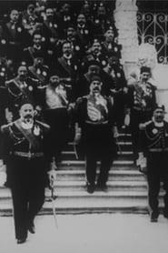 Le Bey de Tunis et les personnages de sa suite descendant l'escalier du Bardo 1903