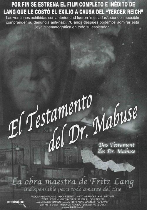 Película El testamento del Dr. Mabuse Gratis