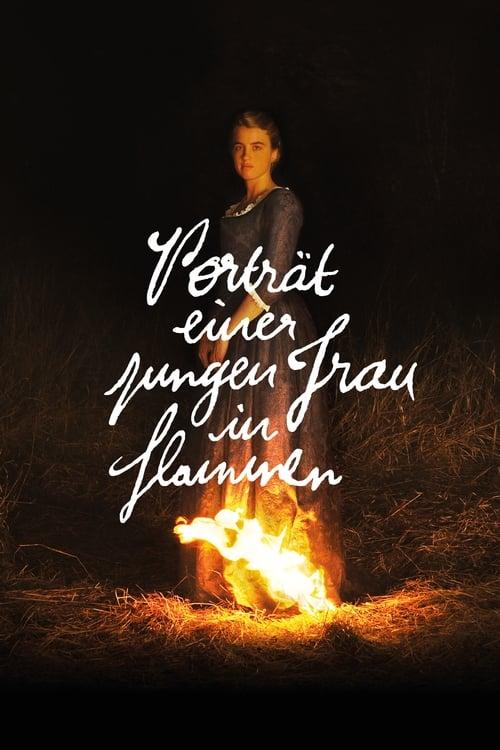 Porträt einer jungen Frau in Flammen - Poster