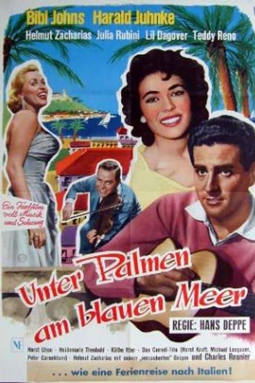 Unter Palmen am blauen Meer - Poster