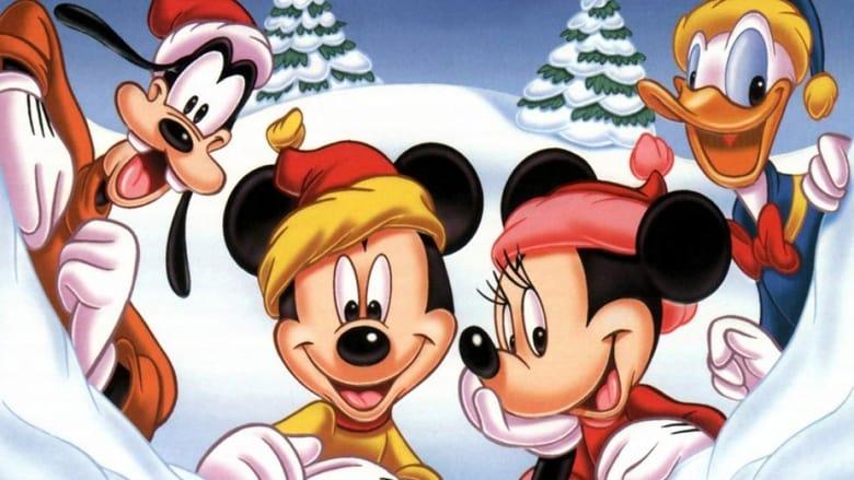 A Walt Disney Christmas banner backdrop
